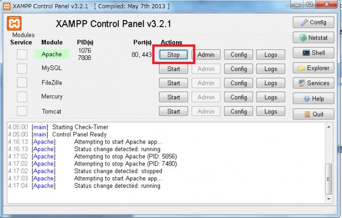 XAMPPのコントロールパネルを開くキャプチャ3-2